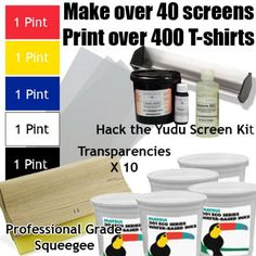 """Get Going with the Yudu (Includes Hack the Yudu Screen Liquid Emulsion kit [emulsion, scoop coater, emulsion remover, tutorial], 11"""" Professional Squeegee, 5 Pints of Ink, Transparencies)"""