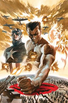 Sub-Mariner, Human Torch) by Alex Ross Marvel Comics Marvel Dc Comics, Fun Comics, Marvel Heroes, Marvel Avengers, Avengers Universe, Captain Marvel, Marvel Comic Character, Comic Book Characters, Marvel Characters
