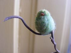 Miniature Wool Felted Birds in Rust and Green by Zyloby on Etsy, $20.00