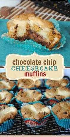 Chocolate Chip Cheesecake Cookie Muffins - SO Amazing!