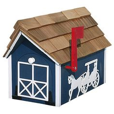 Windmill Mailboxes | Home / Mailboxes / Amish Cedar Roof Horse & Buggy Mailbox