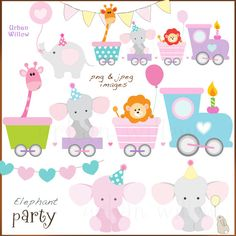 Cute Animal and Train Clipart, Cute train, Baby Shower Clipart, Baby Graphics, Baby Card Making Supp Cute Giraffe, Cute Elephant, Pink Elephant, Baby Shower Clipart, Baby Shower Crafts, Clipart Baby, Elephant Party, Elephant Baby Showers, Bricolage Baby Shower