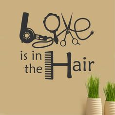 Love is in the Hair Beauty Salon Hairdresser Quote Vinyl Wall Lettering Decal: