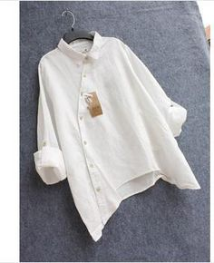 Online Shop 2017 New arrival shirt women Cotton linen blusas white shirt for women clothing free size Hijab Fashion, Boho Fashion, Fashion Outfits, Womens Fashion, Fashion Design, Sewing Dress, Free Clothes, Clothes For Women, Recycled Fashion