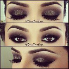 Dramatic glitter black smoky eyeshadow for prom