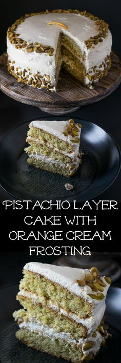 This pistachio layer cake with orange cream frosting has ground pistachios as well as pistachio extract in the cake itself, just to drive home the pistachio flavor. The frosting is fluffy, whipped cream with fresh orange zest. Together, this pairing makes for a heavenly combination!