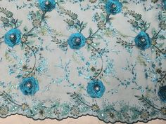 Blue Flower Applique Stick 3D Embroidery Lace by sunnyfashionstore