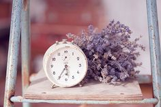 lavender and an old clock