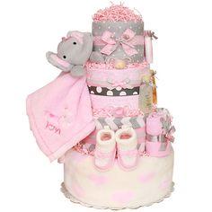 Pink And Gray Elephant Diaper Cake cakepins.com