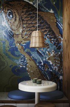 mosaic wall.sushi bar