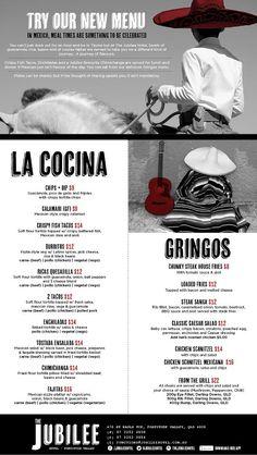 Introducing the new Jubilee Hotel Latin Lunch menu. Chimichanga, anyone? *Gringos not excluded. #thejubileehotel #latin #latino #mexican #lunch #menu #graphicdesign #lacocina #gringos #gringas #cocina #comida #corona http://jubileehotel.com.au/