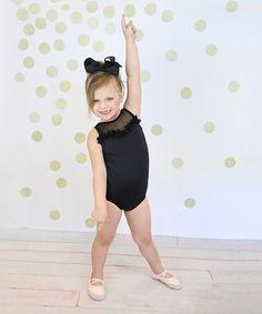 d4815f0523 Niva-Miche Clothes Black Ruffle Mesh-Accent Leotard - Toddler   Girls