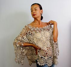 Autumn Blues Unique Crochet Top Tunic Crochet Chic by lilithist, $675.00