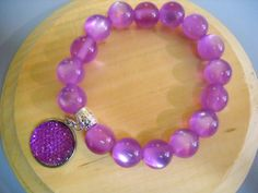Lavender Fiber Optic Beaded Stretch Bracelet with by Beads4You2008,