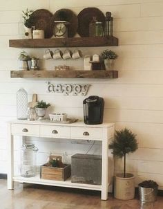 Make that bar area a coffee station with reclaimed wood floating shelves.