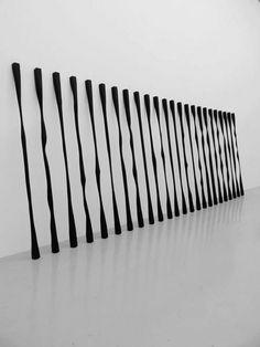 """John Cornu Sans titre (Verticales), 2009-2010Bois, peinture acrylique et cirageDimensions variables- Stéphane Dafflon, """"PM0..."""