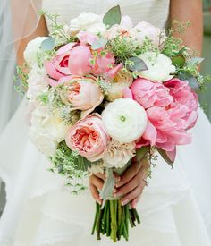 Spring wedding bouquet with peonies