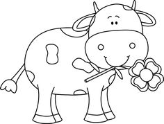 Clip Art Cow Clipart Black And White black and white cow colorir pinterest graphics turtles with a flower in its mouth clip art white