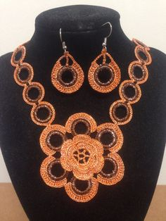 Hey, I found this really awesome Etsy listing at https://www.etsy.com/listing/167194299/crochet-jewelry-handmade-jewelery-orange