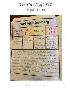 Interactive Notebook with Mini Lessons - Informational Common Core Standards 5th Grade Writing, 6th Grade Reading, Fifth Grade, Third Grade, Summary Writing, Writing Strategies, Teaching Strategies, Reading Workshop, Reading Skills