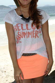T-shirt hello summer + mini saia
