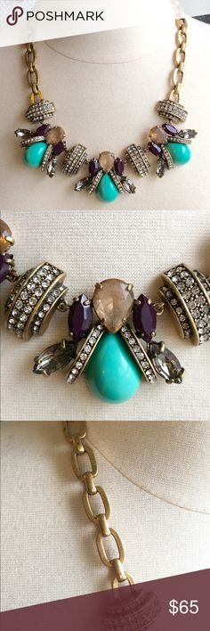 J Crew Bumblebee Statement Necklace Gorgeous, bumblebee statement necklace by J Crew. Turquoise colored stone with purple crystal accents. Brass chain. Crystal studded accents. Adj length. Comes with original box. So unique!!  Never worn. J. Crew Jewelry Necklaces