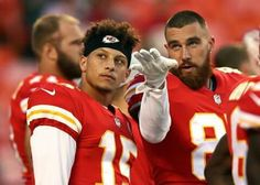Quarterback Patrick Mahomes and tight end Travis Kelce of the Kansas City Chiefs scan the crowd during warm-ups prior to the preseason game against the Green Bay Packers at Arrowhead Stadium on. Kansas City Chiefs Football, Best Football Team, Football Season, Football Players, Chiefs Memes, Travis Kelce, Afc Championship, Football Conference, Tight End