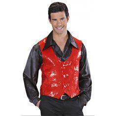 Rode gilet met pailletten. Rood glimmend vestje met 3 knopen en pailletten. Geschikt voor heren.