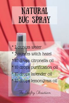 Natural bug spray is perfect for people who are chronically ill, or for kids who can't use DEET for the risk of seizures. Totally natural, and it works great!