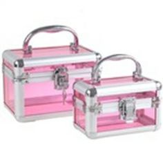 2 x Clear Pink Vintage Luggage Case Design Nested Jewelry Casket Storage Box with Keys
