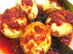 Hot and Spicy Fried Eggs (Telor Balado) from West Sumatera
