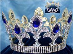The Millennium Rhinestone UNISEX Full Gold Blue Sapphire Crown