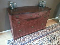 Buffet refinished in brick red over graphite.