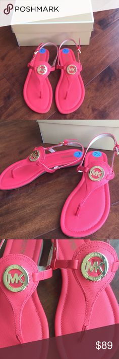 New Michael Kors Sandals Brand new in original box sandals in a beautiful coral color! Size 7 1/2. Michael Kors Shoes Sandals