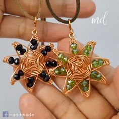 This piece of jewelry is made of copper and crystals!
