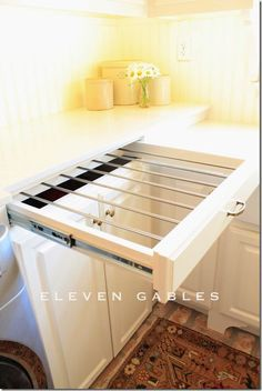 DIY slide out drying rack, laundry room - love this! No more pull out the drying rack, set it up and watch it take up valuable floor space! Laundry Room Organization, Laundry Room Design, Laundry In Bathroom, Laundry Rooms, Laundry Closet, Small Laundry, Organization Ideas, Hidden Laundry, Clever Storage Ideas