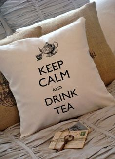 Keep Calm and Drink Tea Digital Image, Download And Print, Great For Image Transfer on Pillows, Tea Towels and more - Style. 144