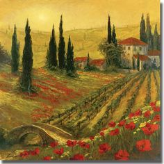 Shop for Art Fronckowiak 'Poppies of Toscano' Canvas Art. Get free delivery On EVERYTHING* Overstock - Your Online Art Gallery Store! Oil Painting On Canvas, Painting Prints, Canvas Art, Big Canvas, Canvas Size, Tuscany Landscape, Canvas Online, Art Prints Quotes, Poppies