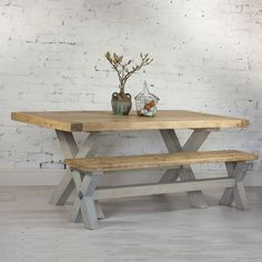 Buy this amazing… Reclaimed Wood Refectory Dining Table. Beautiful chunky reclaimed pine table with breadboard ends and tr… – garage Timber Dining Table, Rustic Kitchen Tables, Reclaimed Wood Dining Table, Outdoor Dining Furniture, Dining Table Design, Modern Dining Table, Farmhouse Table, Dining Room Table, A Table
