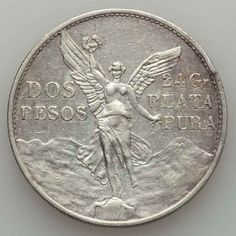 Mexican Crown Size Silver Coin 1921 Two or Dos Pesos Centennial of Independence Mint Mark Mo Good Extremely Fine or Better