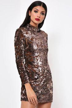 19acca09ee Bronze Velvet Sequin Bodycon Dress