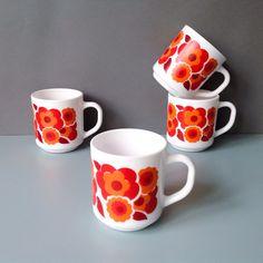 Vintage Arcopal Lotus Mugs  Retro Red / Orange by RosieFleur