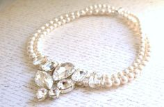 Swarovski crystal and pearl necklace with large soldered feature by MOSQUITA