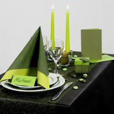 Inspiration til fest med grøn borddækning, bordpynt m.v.