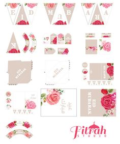 DIY Eid Decorations Vintage Rose Printable Pack by FitrahStudio