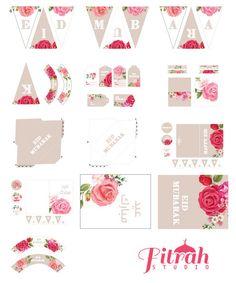 DIY Eid decoraties Vintage Rose afdrukbare Pack door FitrahStudio