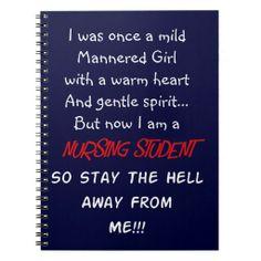 Nursing Student Humor Gifts Note Books http://www.zazzle.com/nursing_student_humor_gifts_note_books-130904585056440636?rf=238282136580680600