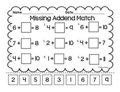Here's a cut and paste page for working on missing addend