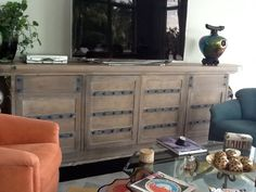 Rustic/industrial entertainment console