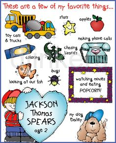 my favorite things, boy clip art, kids clip art, cute clipart